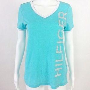 Tommy Hilfiger T Shirt V Neck White Trim -19